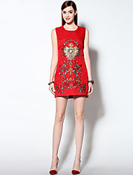 Women's Formal Sexy A Line DressEmbroidered Round Neck Above Knee Sleeveless Red  Mid Rise Micro-elastic Medium