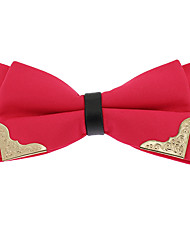 Men Pre-tied Double Layer Bow Ties Golden-Metal-Edged