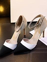 Damen-High Heels-Lässig-Leder-Stöckelabsatz-Komfort-Schwarz / Weiß