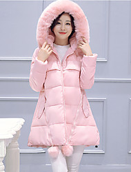 Women's Solid Blue / Pink / Black / Gray / Green / Yellow Padded Coat,Street chic Hooded Long Sleeve