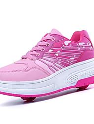 Синий / Розовый-Унисекс-Для прогулок / Для занятий спортом-Кожа-На низком каблуке-Обувь на роликах-Кеды