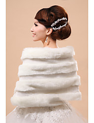 Women's Wrap Capelets Sleeveless Faux Fur White Party/Evening Off-the-shoulder 45cm Feathers / fur Hidden Clasp