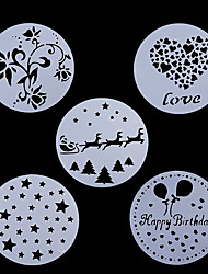 5Pcs Lot Cake Stencil Plastic Cookie Cake Stencil Fondant  Decoration  Wedding Flower Cookie Stencil Christmas