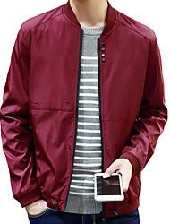 Men's Korean Long Sleeve Casual / Work / Sport Slim Jacket Stand Collar Polyester Solid Black / Blue / Red