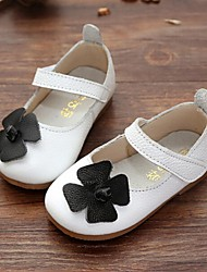 Girl's Flats Spring / Fall Mary Jane Leather Dress Flat Heel Magic Tape Black / Pink / White Walking