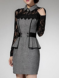 Women's Patchwork Red / Gray Lace Hin Thin Slim Temperament Dress , Work / Plus Sizes Shirt Collar Long Sleeve