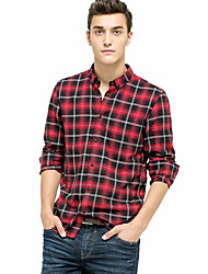 Men's Casual Classic Button Placket Large Grid Long-sleeved Cotton Long Sleeve Shirt