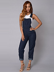 Women's Solid Denim Suspender Trousers Backless JumpsuitsSimple / Cute Strap Sleeveless