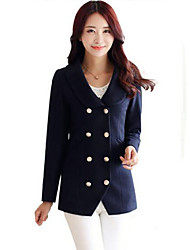 Women's Casual/Daily Simple Double-breasted Slim Coat Solid Shawl Lapel Long Sleeve Winter