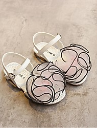Girl's Sandals Summer Sandals PU Casual Flat Heel Satin Flower Blue / Yellow / Pink Others