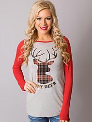 Damen Patchwork Einfach Lässig/Alltäglich T-shirt,Rundhalsausschnitt Herbst Langarm Grau Baumwolle Mittel
