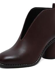 Feminino-Botas-Saltos / Inovador / Plataforma Básica / Bico Fino / Sapatos com Bolsa Combinando / Rasos / Conforto-Salto Grosso-Preto /