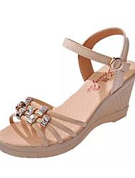 Damen Sandalen PU Sommer Normal Schnalle Keilabsatz Schwarz Beige Rot Blau 5 - 7 cm