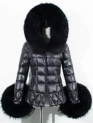 Women's Solid Black Padded CoatSimple Hooded Long Sleeve