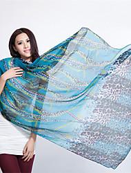Vintage Blue Leopard Print Cotton  Beach Towel Silk Scarf Travel  Shawl Scarves