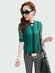 Damen Patchwork Street Schick Ausgehen T-shirt,Rundhalsausschnitt Herbst / Winter Langarm Grün Polyester Mittel