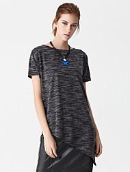 Damen Solide Einfach Lässig/Alltäglich T-shirt,Rundhalsausschnitt Sommer Kurzarm Schwarz Kunstseide / Polyester Dünn