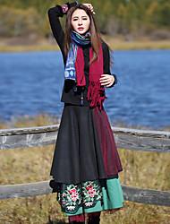Mulheres Saias Longo Boho Lã / Poliéster Sem Elasticidade Mulheres