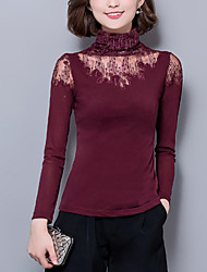 Women's Casual/Daily Sexy Fall Blouse,Solid Turtleneck Long Sleeve Red / Black