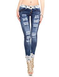 Women's Solid Blue Jeans Pants,Vintage
