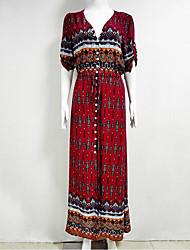 Women's Holiday Boho Sheath DressPrint Deep V Asymmetrical  Length Sleeve Red Polyester Fall Mid