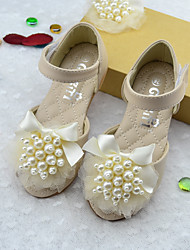 Girl's Sandals Summer Sandals Microfibre Outdoor Flat Heel Pearl / Flower Pink / Beige Others