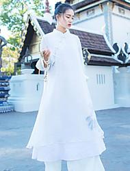 Ample Robe Femme Sortie simple / Chinoiserie,Fleur Mao Mi-long Manches ¾ Blanc Autres Printemps Taille Normale Non Elastique Fin