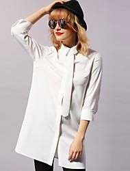 Feminino Camisa Vestido,Casual Simples Sólido Colarinho de Camisa Acima do Joelho Manga ¾ Branco / Preto Poliéster / Elastano Primavera