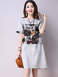 Women's Casual/Daily Simple Loose Dress,Print Round Neck Knee-length ½ Length Sleeve Gray Linen Summer