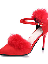 Women's Heels Spring Summer Fall Fur Suede Casual Stiletto Heel Buckle Black Red Gray Walking