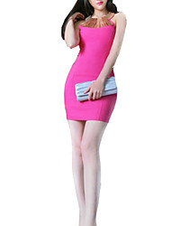 Women's Simple Solid Sheath Dress , Round Neck Mini Polyester