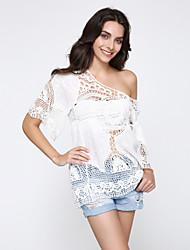 Women's Beach Sexy / Boho Blouse,Solid Round Neck ½ Length Sleeve White Rayon Medium