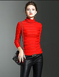 Damen Solide Einfach Ausgehen T-shirt,Rollkragen Herbst / Winter Langarm Rot / Weiß Polyester Mittel