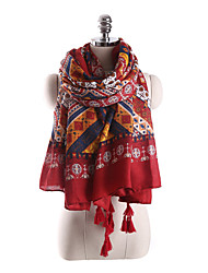 Women Vintage Casual National Wind Geometric Grid Fringed Red Shawl Large Beach Tassel Scarves