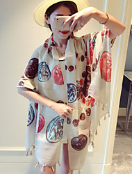 Women Spring Casual Rectangle Hot Air Balloon Circle Cotton Printed Fringed Shawl Scarves Scarf