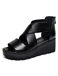Damen-Sandalen-Lässig-Leder-KeilabsatzSchwarz