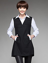 Feminino Camisa Casual Simples Primavera / Outono,Color Block Preto Algodão Colarinho de Camisa Manga Longa Média
