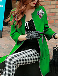 Pink Doll®Women's Animal Print Green Coat , Work / Casual / Day Long Sleeve Wool / Polyester / Spandex
