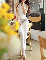 Women's Solid Red / White Jumpsuits,Casual / Day V Neck Sleeveless