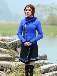Our Story Women's Going out Chinoiserie JacketsEmbroidered Sweetheart Long Sleeve Winter Blue Polyester Thick