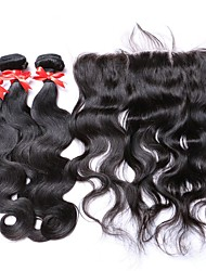 3Bundles Peruvian Virgin Hair Body Wave with 1Pc 134 Lace Frontal Closure 100% Human Hair Weaves with Lace Frontal