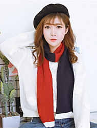 Women Autumn Winter Knitted Fall And Winter Color Stitching Warm Casual Slim Thick Knit  Scarf