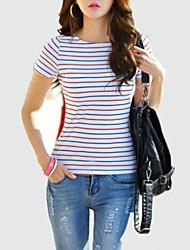 Damen Gestreift Retro Lässig/Alltäglich T-shirt,Rundhalsausschnitt Sommer Kurzarm Rot / Schwarz Baumwolle Mittel