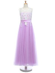 2017 Ball Gown Floor-length Flower Girl Dress - Lace / Tulle Sleeveless Jewel with Lace / Sash / Ribbon