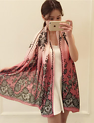 Women Spring Casual Rectangle Leaf Lace Flower Print Water Blue Gradient Color Satin Scarf Scarves