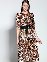 Boutique S Women's Sophisticated Sheath DressAnimal Print / Houndstooth Round Neck Knee-length  Length Sleeve  Polyester