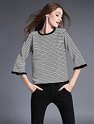 Damen Kurz Pullover-Ausgehen Einfach Gestreift Rot / Weiß / Grün Rundhalsausschnitt ¾-Arm Baumwolle Herbst Mittel Mikro-elastisch