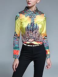 Women's Casual/Daily Vintage All Seasons ShirtPrint Shirt Collar Long Sleeve Yellow Polyester Medium