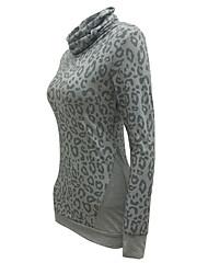Damen Leopard Einfach Lässig/Alltäglich T-shirt,Rollkragen Sommer / Herbst Langarm Grau Polyester Mittel