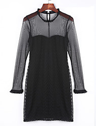 Women's Going out Sexy Sheath DressSolid Round Neck Above Knee Long Sleeve Black Cotton Fall High Rise Inelastic Medium